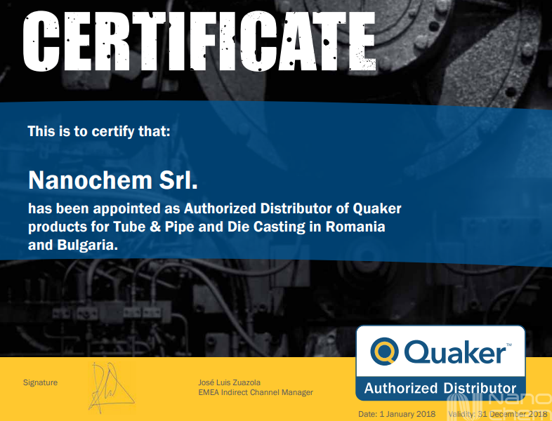Certificat distribuitor autorizat Quaker industria de tevi si emulsii